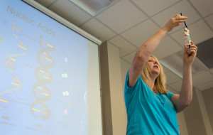 WKU biology professor Kerrie McDaniel demonstrates the usefulness of a double helix DNA model made using classroom materials to the National Stem Cell Foundation Scholars on Wednesday, June 8. Kerrie shared life science lessons each afternoon. (Photo by Tucker Allen Covey)